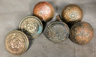 2 Pair 6 Brass Metal Victorian Eastlake Gothic Exterior Door Knobs Aesthetic OLD