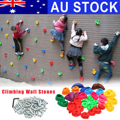 AU 32x Indoor Kids Climbing Wall Stones Hold Hand Feet Starter Rock Holder Toy