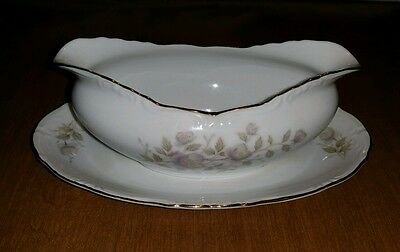 Wild Rose Fine China - Japan Gravy Boat With Attached Oval Plate