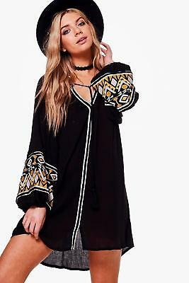 Boohoo Womens Boutique Emiko Embroidered Smock Dress