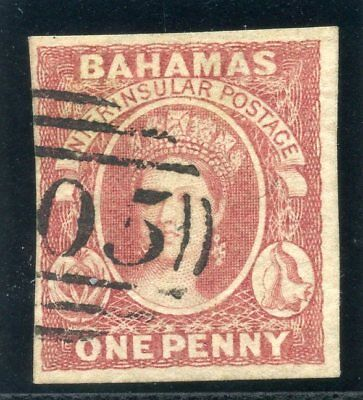 Bahamas 1859 QV 1d reddish lake (four margin copy) cat £2250 VFU. SG 1. Sc 1.