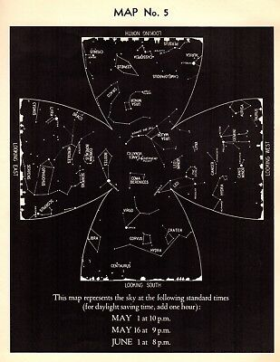 1942 May Sky STAR & CONSTELLATION Map ASTRONOMY Print Astrology Signs 4326