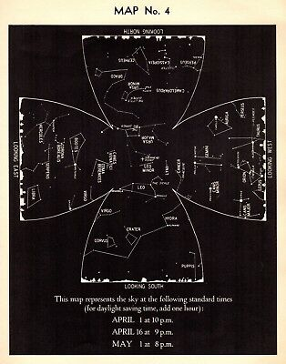 1942 April Sky STAR & CONSTELLATION Map ASTRONOMY Print Astrology Signs 4327