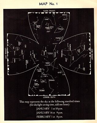 1942 January Sky STAR & CONSTELLATION Map ASTRONOMY Print Astrology Signs 4330