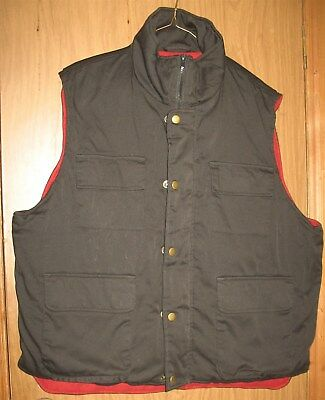 Vtg Mens L Black/Red Haband's Habands Stag Hill Puffy Puffer Warm Winter Vest