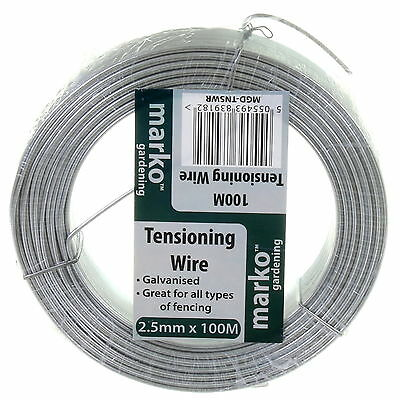 Tension Wire Straining Line Galvanised Steel 100M x 2.5mm Chain Link Fencing NEW