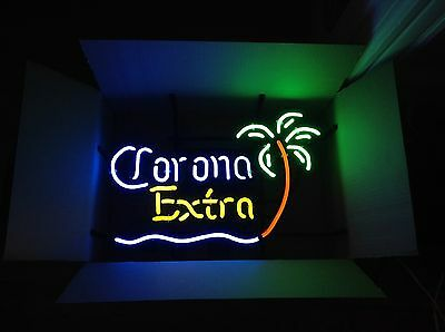 "Corona Extra Beer Neon Sign Tiki Bar Pub Mini Palm Tree 20.5"" X 14"" New In Box!!"