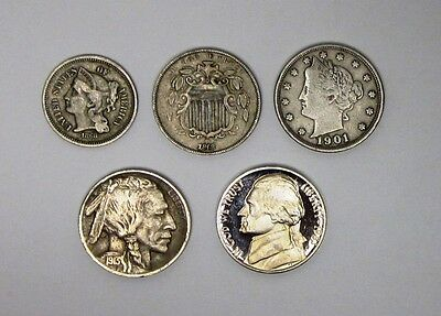 Circulated Collection Lot of the 5 U.S. Nickels - In Nice Condition!