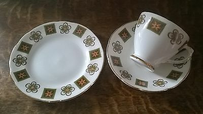 Vintage Sutherland bone china trio - side plate, teacup and saucer