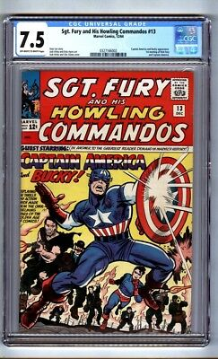 Sgt. Fury and His Howling Commandos 13 (CGC 7.5) OW/W p; Capt. America (c#16145)