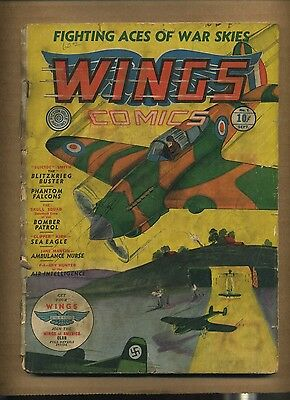 Wings Comics #1 (FR) 1940 Fiction House Skull Squad Greasemonkey Griffin c#08660