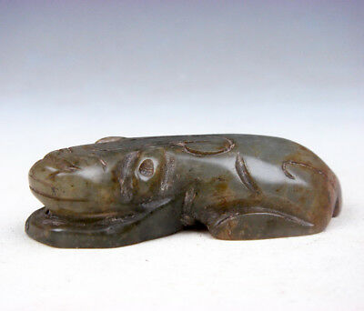 Old Nephrite Jade Carved Sculpture Crouching Monster Pi-Xiu Statue #11111706