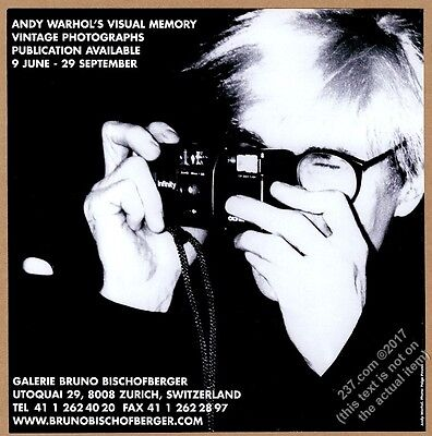 2001 Andy Warhol photo with camera Zurich gallery show vintage print ad
