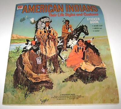 Vintage American Indians Life Styles & Customs Sticker Book Whitman 1973