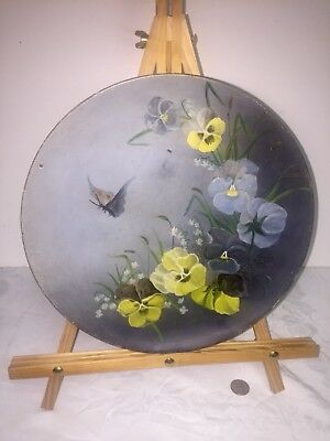 Folk art antique Oil Painting Butterfly & Pansies Gorgeous 19th Cent.painting