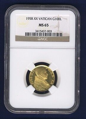 Vatican City 1958 100 Lire Gold Coin, Gem Uncirculated, Certified Ngc Ms-65