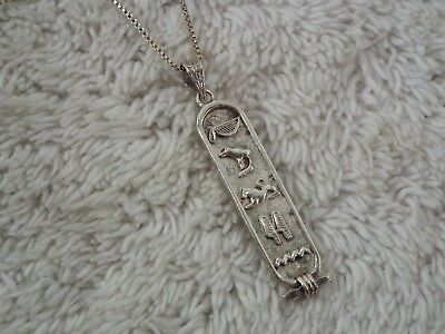 Sterling Silver Egyptian Cartouche Pendant Necklace (C62)