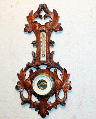 Antique Barometer & Thermometer Victorian in wood hand carved 49 cm height