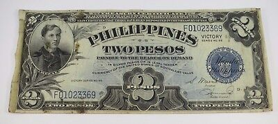 1944 VICTORY Overprint TWO PESOS PHILIPPINES SILVER PESOS CERTIFICATE Series 66
