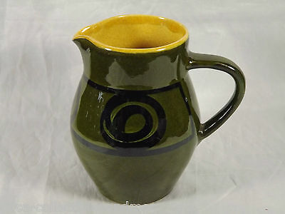 Vintage Brixham Pottery England Small Pitcher Milk Jug Green Black Band Swirls
