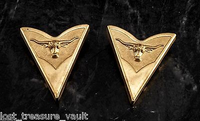 Vintage Collar Tips Western Bull Head Motif Pair Steel Metal Screw Made in USA