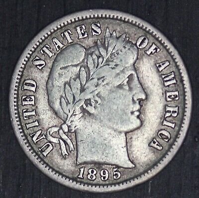 1895-S U.S. Barber Dime Silver 10 Cents Coin - NICE QUALITY - RARE Key Date