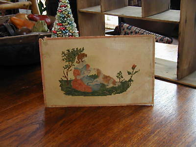 Wonderful Early/Old Antique Paper Punch Motto Embroidery Sampler Girl and Dog