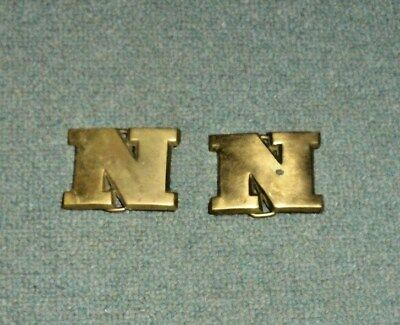 Lot of (2) Vintage Belt Buckle Letter N Solid Brass