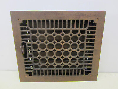 Vintage Cast Iron Honeycomb Style Floor Grate w/Damper   ASG#26