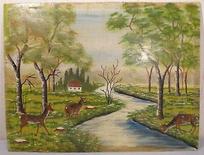 1985 Southeast Asian Oil On Board Painting Signed Landscape Deer