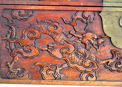 19Th Century Antique Chinese Wood Carved Dragon Chest Box