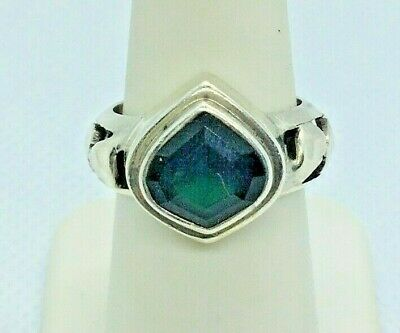 Lori Bonn Sterling Silver 2 Ct Fancy Cut Emerald Ring Size 7
