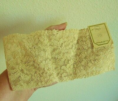"Antique Vintage French Sales Sample Lace Panel Piece Trim, 14 1/2"", Beige"
