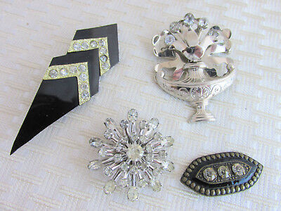 4 Pc Lot Vintage Art Deco Old Rhinestone Pins Antiques Ornate Unique Snowflake