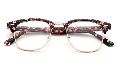 Floral Clear Lens Glasses Fashion with Metal Temples