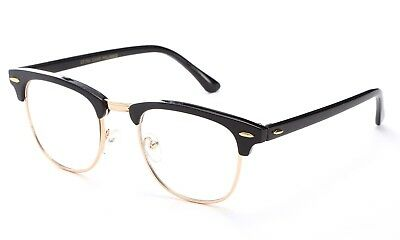 Half Frame Clear Lens Glasses Fashion with Metal Temples
