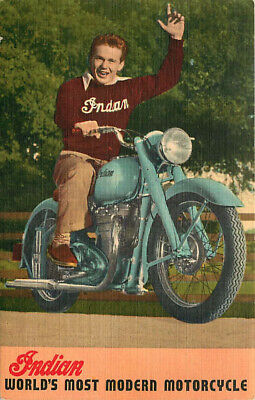 Advertising Linen Postcard Indian Motorcycle - Arrow & Scout
