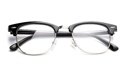 Half Frame Clear Lens Fashion Glasses with Temple Accents