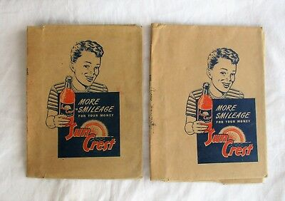 Set of 2 RARE 1939 Sun Crest Soda Advertising Brown Paper Book Covers