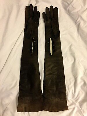Vintage Long Faded Black Kidskin Leather Opera Gloves, Size 7, 22 Inches Long