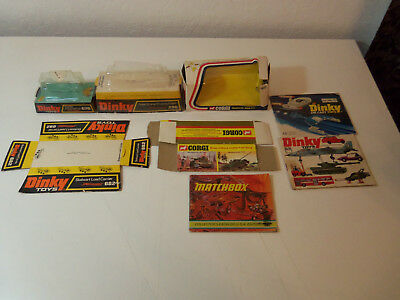 1970's Lot of EMPTY BOXES for DINKY & CORGI Toys & 3 CATALOGS w/ Matchbox etc