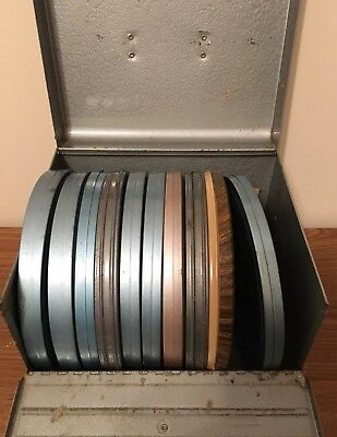 "Lot of 9 Vintage 8 mm Home Movies Vacations 7"" Reels Metal Carrying Case"