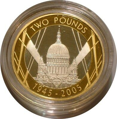 2005 Silver Two Pounds of Great Britain END of World War 2 GEM Allied Forces
