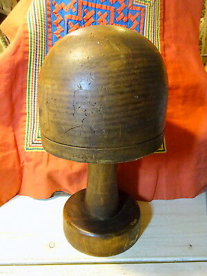 Antique Millinery Hat Block on stand