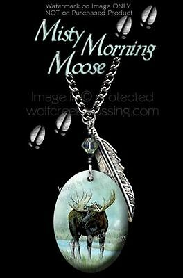 MISTY MORNING MOOSE NECKLACE for MALE or FEMALE ART WILDLIFE GIFT FREE SHIP C24
