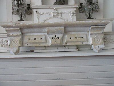 OMG Old Chippy Wood ARCHITECTURAL HEADER PEDIMENT Ornate 3' Long PATINA