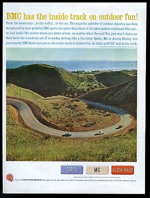 1961 BMC Sprite MG Austin Healey 3 car mountain driving photo vintage print ad