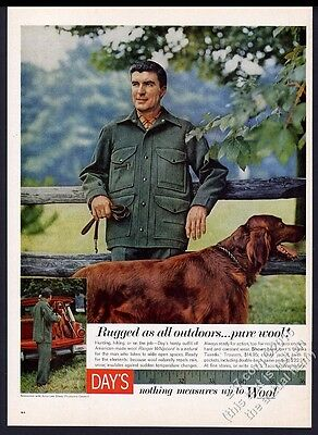 1959 Irish Setter nice color photo Day's Alaska Tuxedo jacket vintage print ad