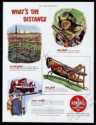 1944 deep-sea diving diver in helmet oil well grasshopper Kendall Oil print ad