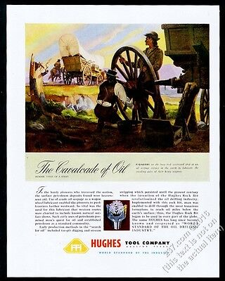 1948 pioneer covered wagon train art Howard Hughes oil tool vintage print ad